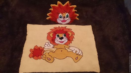 """Банные принадлежности ручной работы. Ярмарка Мастеров - ручная работа. Купить Комплект для бани """"Львёнок"""". Handmade. Ярко-красный, лев"""