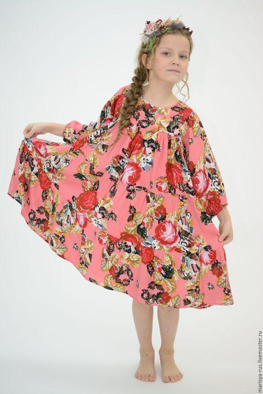 """Одежда для девочек, ручной работы. Ярмарка Мастеров - ручная работа. Купить Платье для девочки """"Веселинка"""". Handmade. Розовый, цветочное платье"""