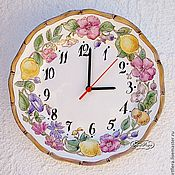 Для дома и интерьера handmade. Livemaster - original item Porcelain painting Watch the Fruits and flowers. Handmade.