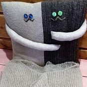 Для дома и интерьера ручной работы. Ярмарка Мастеров - ручная работа Вязаная декоративная подушка, подушка -кот. Handmade.
