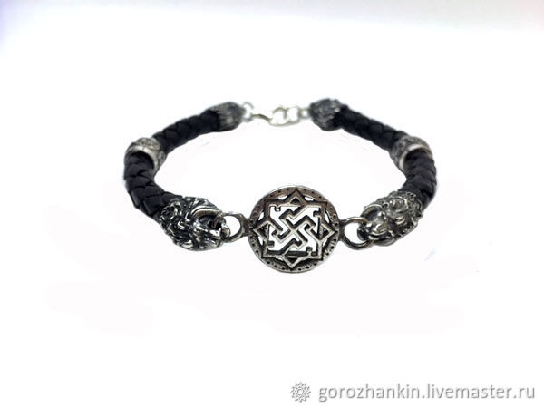 Bracelet leather 6mm 'Lions-Valkyrie-Kolovrat' silver gift for man, guy, warrior, lion - birthday in August, New year, February 23, Valentine's day, every day