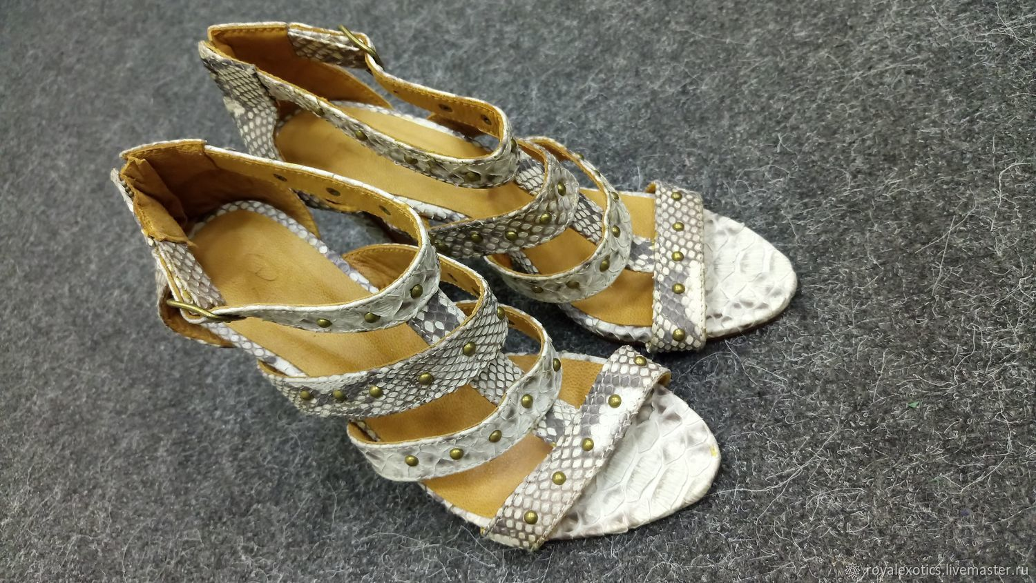 Women's sandals, Python skin, in natural color, Shoes, Tosno,  Фото №1
