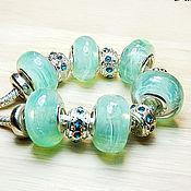 Материалы для творчества handmade. Livemaster - original item Mint mist lampwork beads for bracelets in the style of