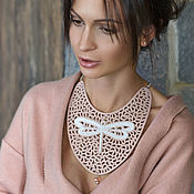 Jewelry Sets handmade. Livemaster - original item Leather necklace, leather bracelet Dragonfly. Handmade.