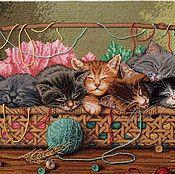 """Картины и панно ручной работы. Ярмарка Мастеров - ручная работа """"Котята в корзинке"""". Handmade."""