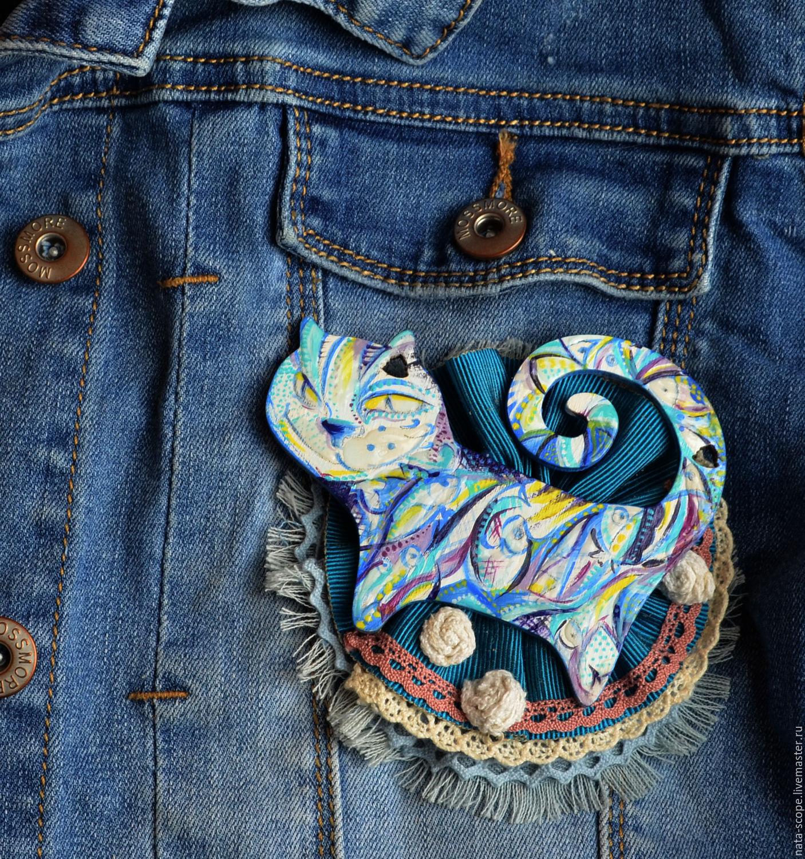 """Броши ручной работы. Ярмарка Мастеров - ручная работа. Купить Брошь """"Морская кошка"""". Handmade. Роспись по дереву, джинсовые украшения"""
