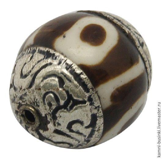 Тибетские бусины серебро Дзи ручной работы.