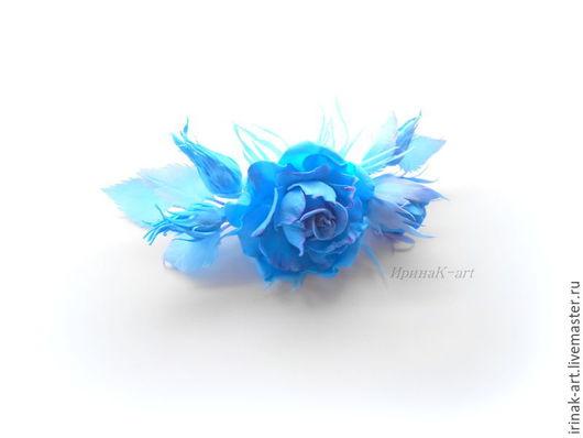 Цветы ручной работы. Ярмарка Мастеров - ручная работа. Купить В синих лучах. Заколка с розой из фоамирана.. Handmade. Синий