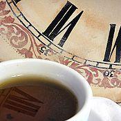 Часы ручной работы. Ярмарка Мастеров - ручная работа Большие ретро часы с росписью Шоколадный винтаж в подарок женщине. Handmade.