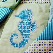 Для дома и интерьера ручной работы. Ярмарка Мастеров - ручная работа Аквариум лоскутное одеяло с вышивкой-аппликацией. Handmade.