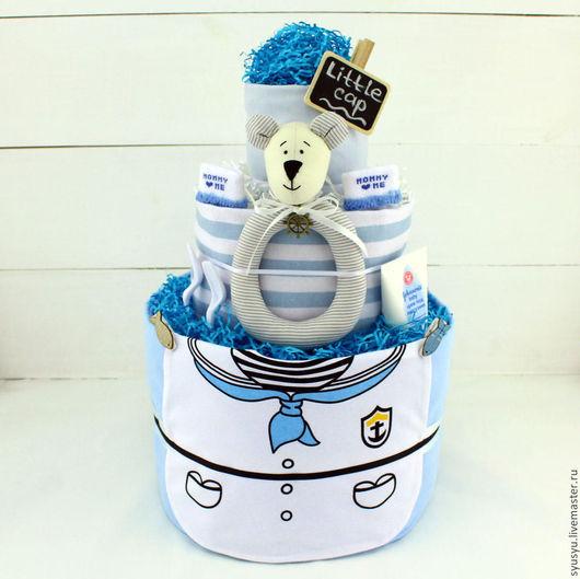 Торт из подгузников `Маленький капитан`. `SyuSyu` - мастерская подарков для самых маленьких