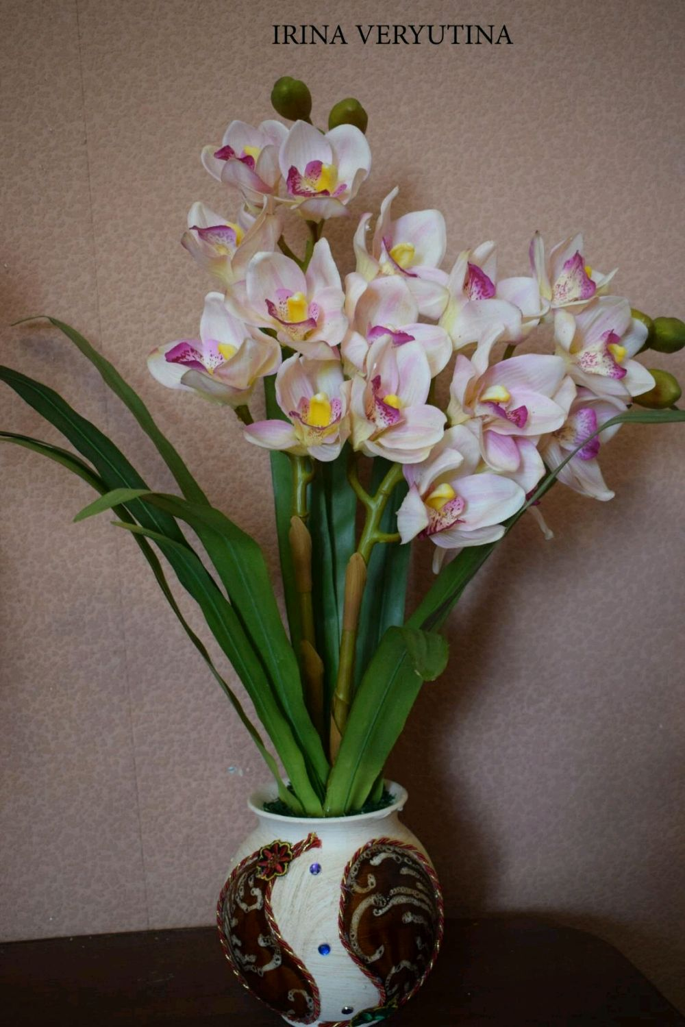 Интерьерные композиции ручной работы. Ярмарка Мастеров - ручная работа. Купить Композиция с орхидеями цимбидиум из латекса на 2 веточки. Handmade.