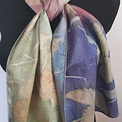 Wraps handmade. Livemaster - original item Wraps: Batik scarf. Silk is a natural . Rainy!. Handmade.