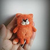 Украшения handmade. Livemaster - original item Cat red felted brooch. Handmade.