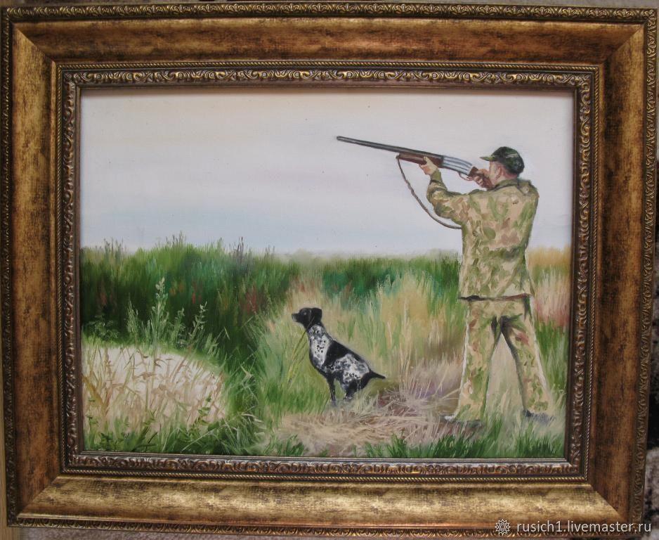Охота с собакой. 30х40см, Картины, Москва,  Фото №1