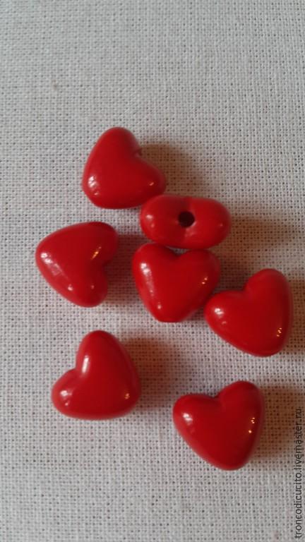 Для украшений ручной работы. Ярмарка Мастеров - ручная работа. Купить Бусины сердечки 11 мм. Handmade. Ярко-красный