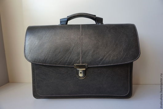 Мужские сумки ручной работы. Ярмарка Мастеров - ручная работа. Купить Нарва I. Handmade. Темно-серый, натуральная кожа