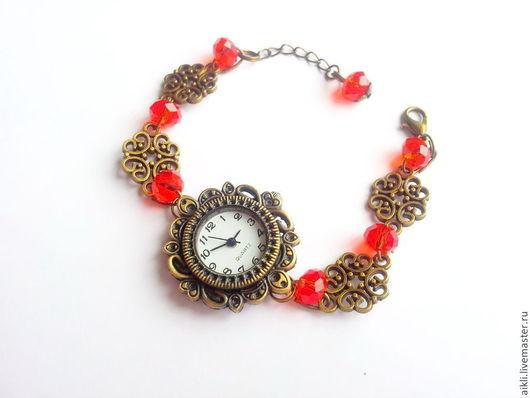"""Часы ручной работы. Ярмарка Мастеров - ручная работа. Купить Часы """"Восточная сказка"""". Handmade. Ярко-красный, алый"""