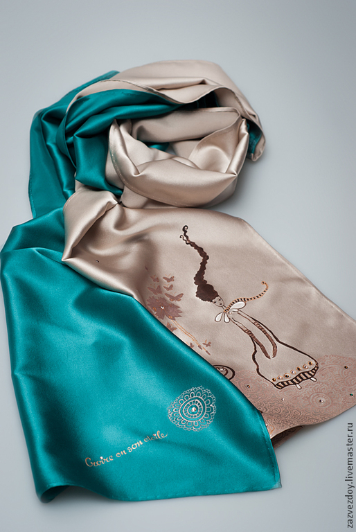 """Шарфы и шарфики ручной работы. Ярмарка Мастеров - ручная работа. Купить Шелковый шарфик  """"  За Звездой"""". Handmade. Зеленый"""