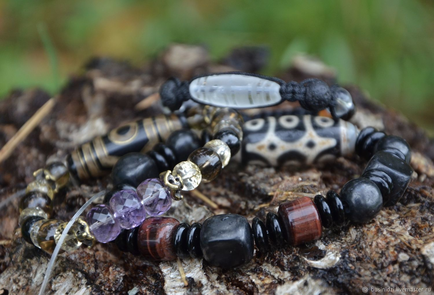 Set of bracelets for the whole family-personal mascots with Dzi, Ji bead, Pereslavl-Zalesskij,  Фото №1