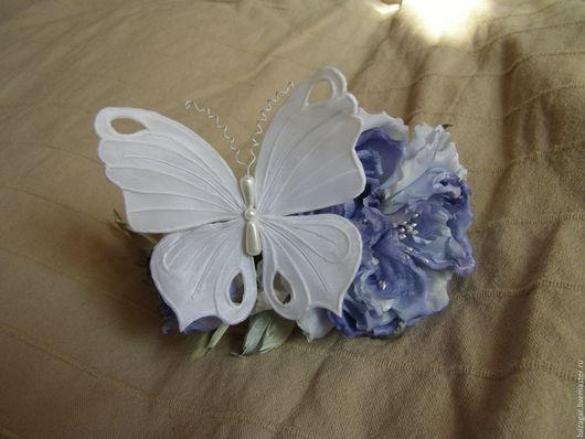 Комплекты аксессуаров ручной работы. Ярмарка Мастеров - ручная работа. Купить Бабочка из натурального шелка. Handmade. Белый, бабочка из ткани