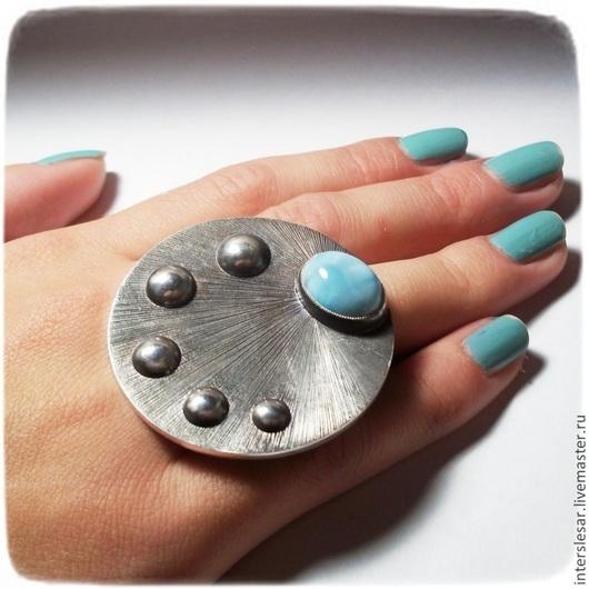 """Кольца ручной работы. Ярмарка Мастеров - ручная работа. Купить Кольцо с ларимаром """"Парад планет"""". Handmade. Голубой, самоцветы"""