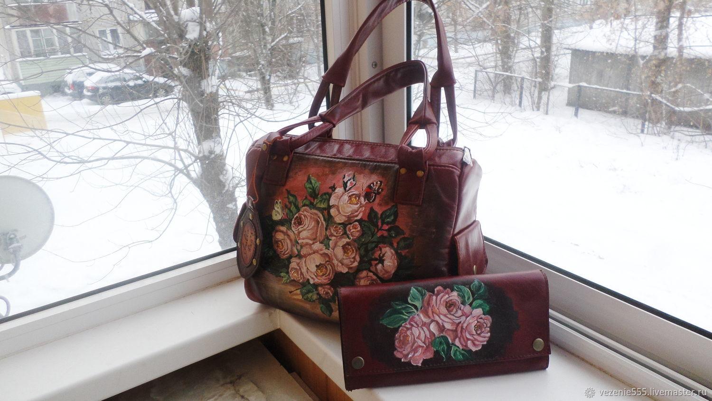 48ece9a01b06 Комплект для Елены. Женские сумки ручной работы. Сумка и несессер кожаные с  росписью.Комплект для Елены.