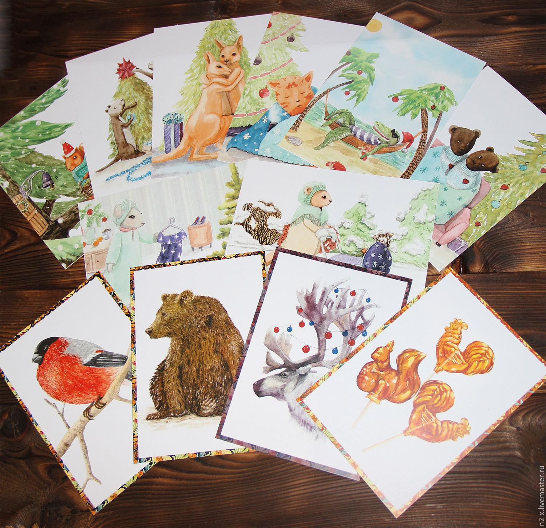 Набор авторских открыток из 4-х шт. №1,№2,№3 (на выбор), Открытки, Междуреченск,  Фото №1