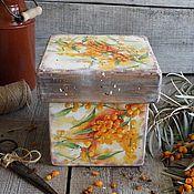 """Для дома и интерьера ручной работы. Ярмарка Мастеров - ручная работа """"Облепиха - Карамель"""" деревянный короб ОЛЬХА. Handmade."""