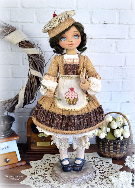 Коллекционные куклы ручной работы. Ярмарка Мастеров - ручная работа. Купить Капочка, текстильная кукла. Handmade. Коричневый, кухонная фея