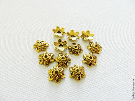 Шапочки для бусин 9 мм в диаметре, высота 3 мм, отверстие 1 мм, цвет античное золото по 10 шт. (арт. 1413)