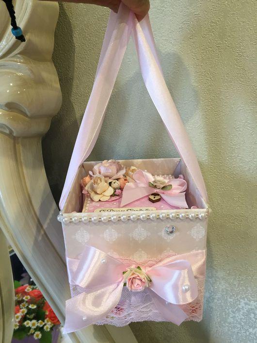 """Подарки на свадьбу ручной работы. Ярмарка Мастеров - ручная работа. Купить Свадебная коробочка """"Розовое счастье""""+ сумочка-коробочка!). Handmade."""