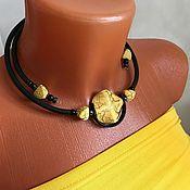Украшения handmade. Livemaster - original item Necklace stylish bright yellow with black on a rubber cord, decoration. Handmade.