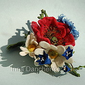 """Украшения ручной работы. Ярмарка Мастеров - ручная работа """"Полевые цветы"""" - валяная брошь цветы мак. Handmade."""