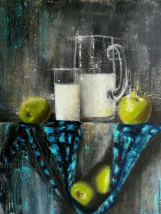 """Натюрморт ручной работы. Ярмарка Мастеров - ручная работа. Купить """"Натюрморт с яблоками и молоком"""". Handmade. Черный, молоко, картина в подарок"""