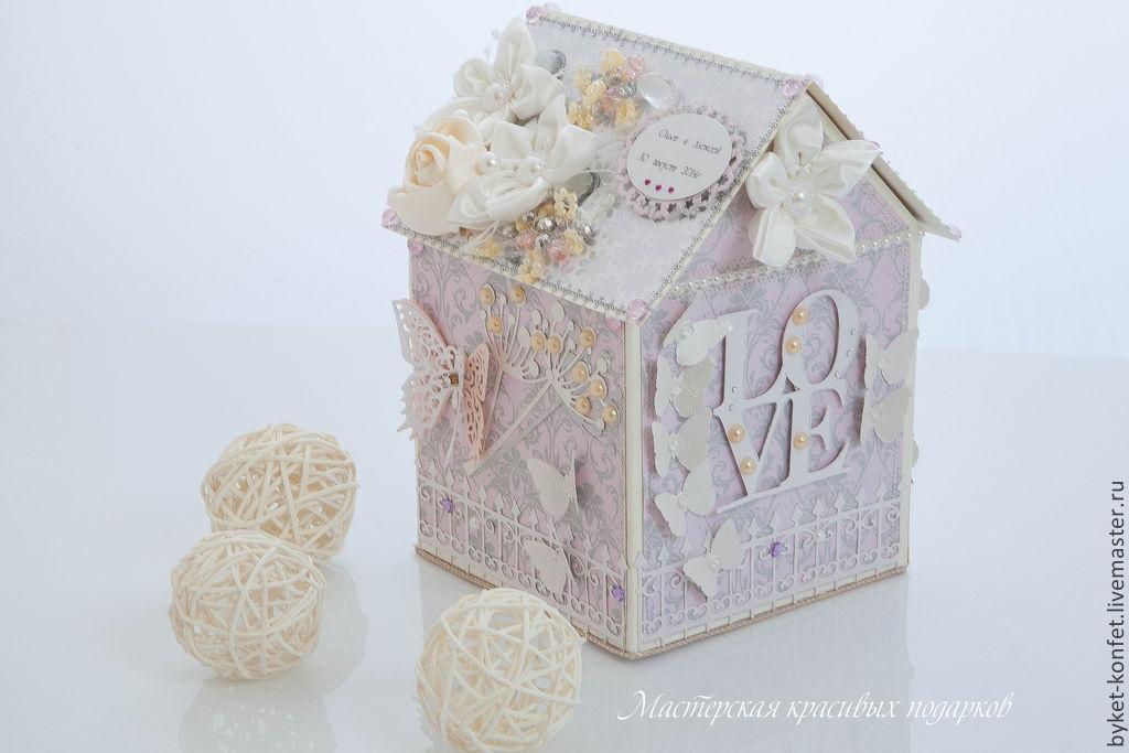 Коробочка-домик для денежного подарка'' Нежные чувства'', Подарочные конверты, Москва,  Фото №1