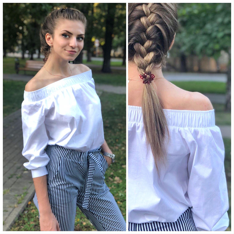 Белая хлопковая блуза с открытыми плечами, Блузки, Москва,  Фото №1