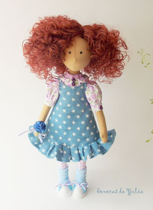 Коллекционные куклы ручной работы. Ярмарка Мастеров - ручная работа. Купить Мэган. Текстильная интерьерная кукла - брюнетка с кудрявыми волосами. Handmade.