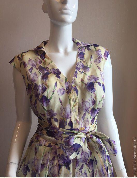 Платья ручной работы. Ярмарка Мастеров - ручная работа. Купить Платье с ирисами (шелк 100 %). Handmade. Шелк, купить