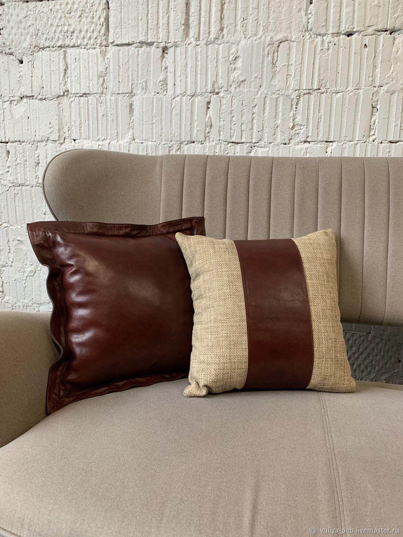 Подушка диванная. Кожа, Элементы интерьера, Москва,  Фото №1