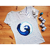 Одежда handmade. Livemaster - original item T-shirt with hand-painted Ferrets Yin-Yang. Handmade.