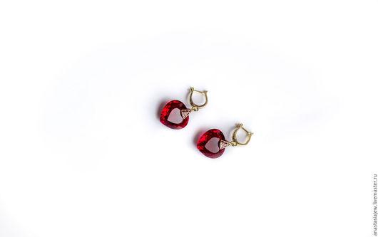 """Серьги ручной работы. Ярмарка Мастеров - ручная работа. Купить Серебряные серьги """"Натали"""". Handmade. Ярко-красный, подарок женщине"""