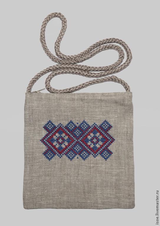 Сумочка с народным орнаментом (лен, вышивка), Сумка почтальона, Москва,  Фото №1