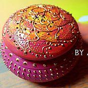 Для дома и интерьера ручной работы. Ярмарка Мастеров - ручная работа Круглая розовая шкатулка для украшений шкатулка для мелочей. Handmade.