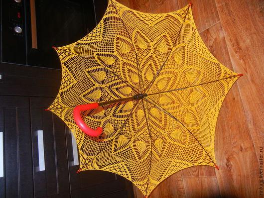 Зонты ручной работы. Ярмарка Мастеров - ручная работа. Купить Вязанный ажурный зонт жёлтого цвета. Handmade. Желтый, зонтик