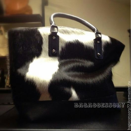 Женские сумки ручной работы. Ярмарка Мастеров - ручная работа. Купить Сумка из натуральной кожи коровы. Handmade. Чёрно-белый
