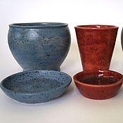Цветы и флористика ручной работы. Ярмарка Мастеров - ручная работа Красный, зеленый, синий горшки для цветов ручной работы. Handmade.