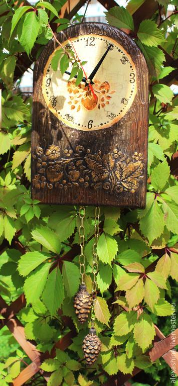 Часы для дома ручной работы. Ярмарка Мастеров - ручная работа. Купить Часы Хохлома. Handmade. Коричневый, часы в детскую