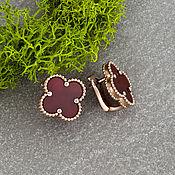 Украшения handmade. Livemaster - original item Elegant clover earrings with carnelian in rose gold 585. Handmade.
