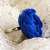 Украшения handmade. Livemaster - original item Ring flower Peony blue polymer clay. Handmade.